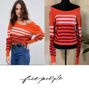 Free people orange striped long sleeve
